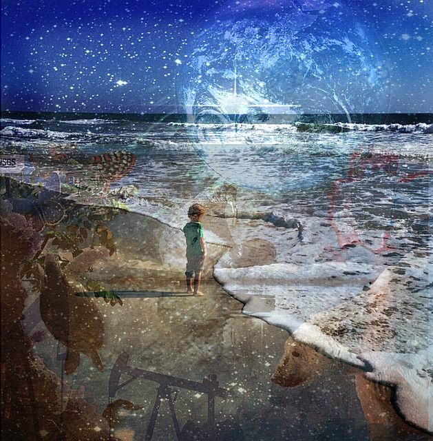 a fantasy future illustration of a boy on a beach at night