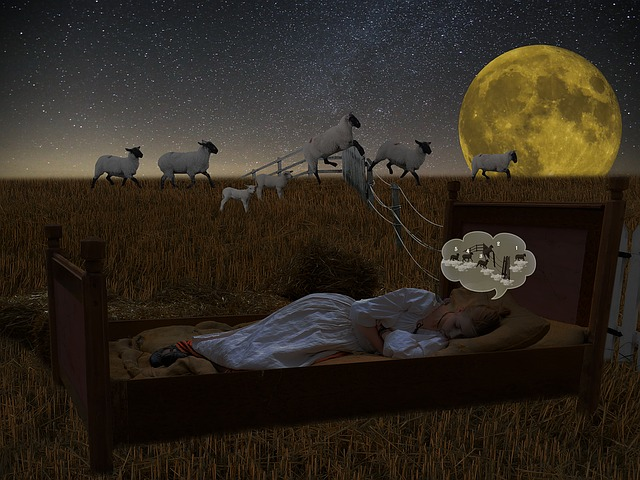 An illustration of a girl on a bed, imagining sheep jumping over a fence