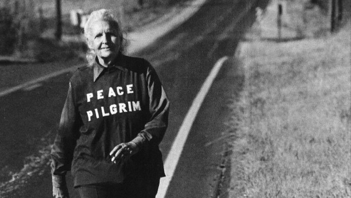 A photo of the Peace Pilgrim walking