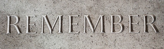 The word remember is engraved in stone