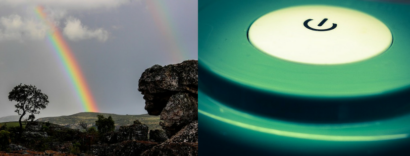 two images appear side by side, of a double rainbow and an on-off button