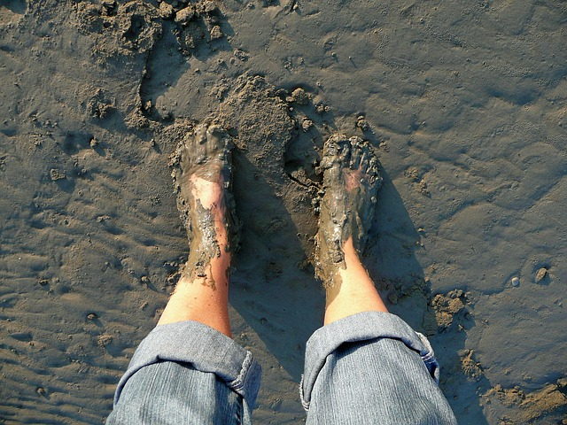 an image of a person who has pulled their feet out of the mud