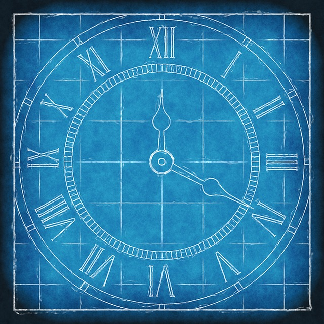 an image of a clock drawn on blueprint paper