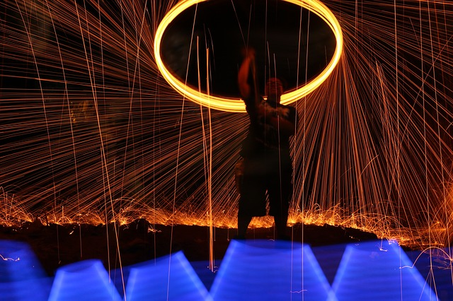 Asn image of a person spinning a light above their head, creating a cirle of light and shooting sparks.