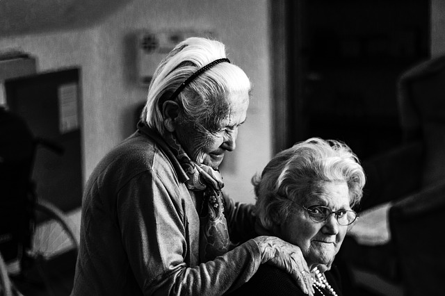An image of two old ladies hanging out together.