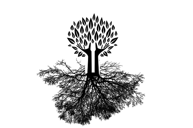 A drawing of a tree with roots branching into the ground.