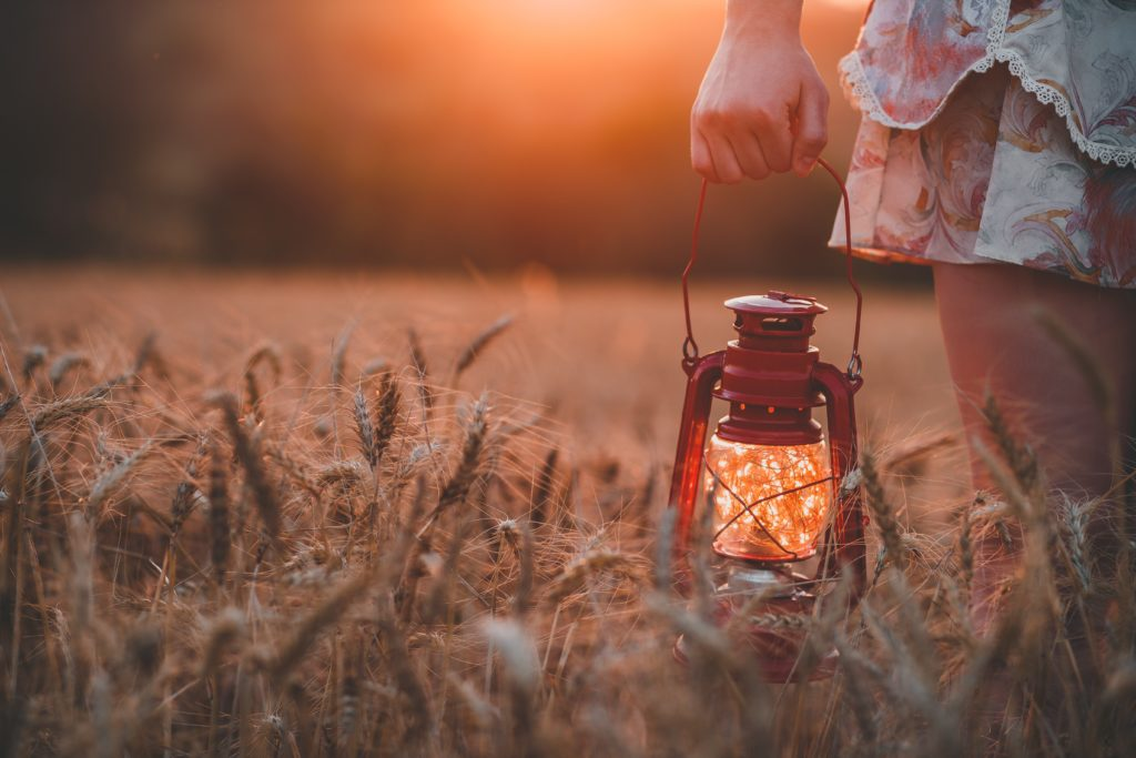An image of a girl carrying a lantern that has been filled with fireflies.
