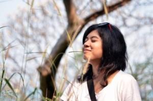 A woman breathing fresh air
