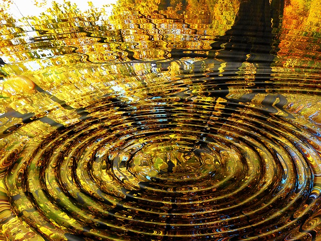 an image of ripples in water radiating out from a perfect circle