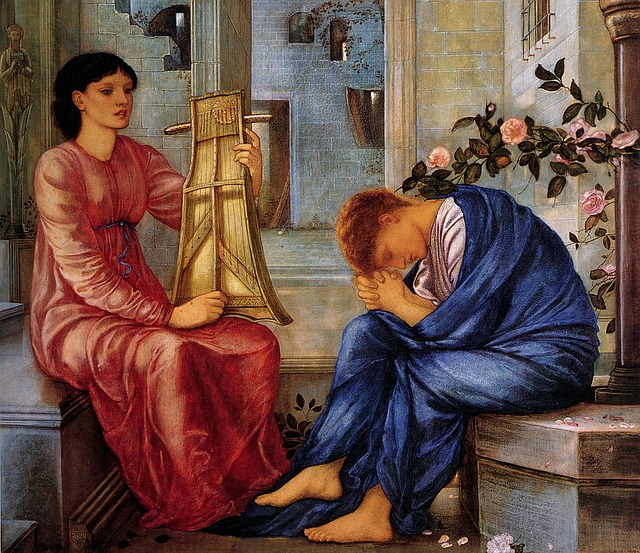 a classical painting on a person grieving and a friend sitting nearby playing music