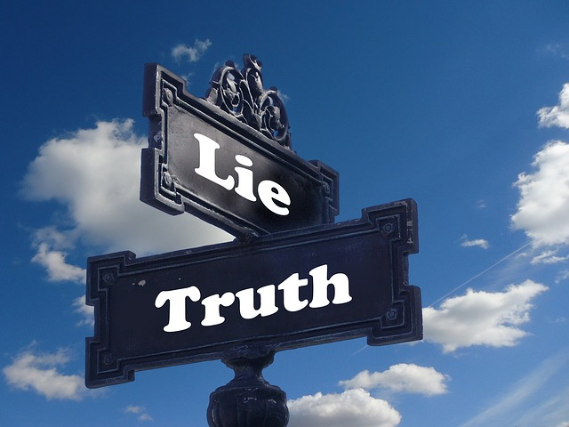 two signs on a signpost, one leading the truth, the other to lie