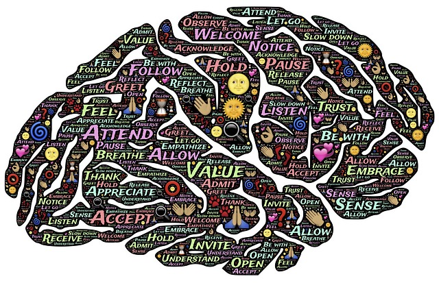 an image of a brain crowded with words