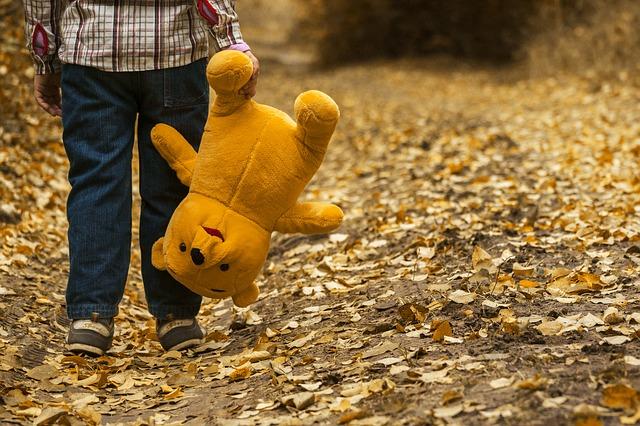 a little boy holds a teddy bear