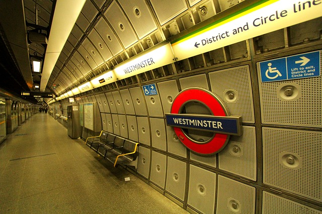 A photo of Westmister Tube station in London.
