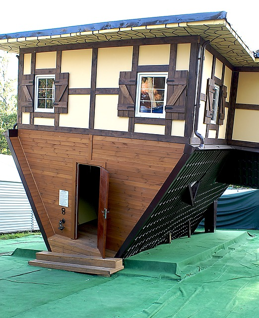 a cottage is built upside down, with the door in the roof, which is the foundation