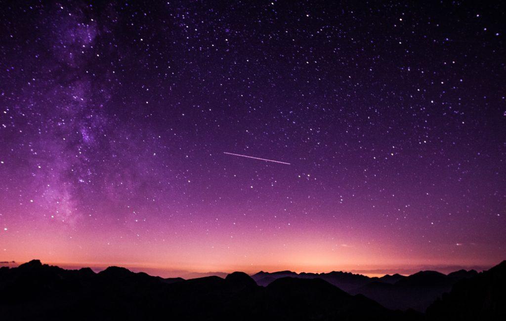 majestic purple night sky, with dawn just beginning