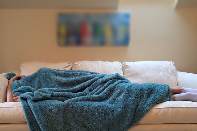 a person is asleep on a couch, completely covered with a blue blanket