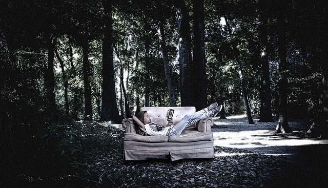 A kid sits on a couch reading. The couch sits in the middle of a forest.
