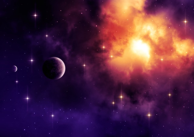 An imaginary image of space with planets and twinkling stars and a large, bright cloud.