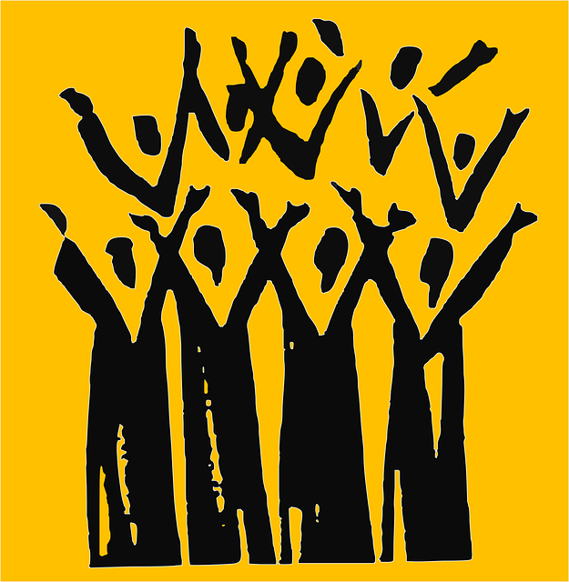 A drawing of a choir singing, each member with upraised arms.