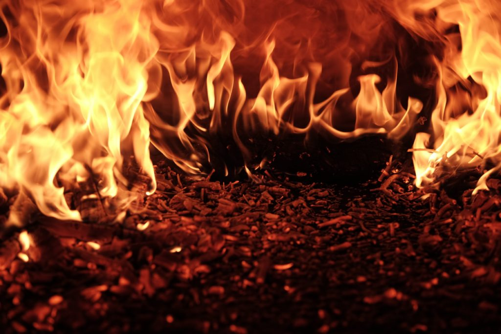 An image of a closeup of flames that fill the field of vision.